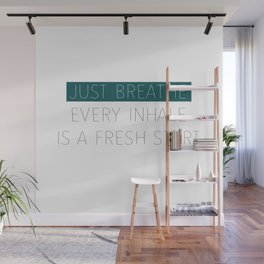 Just Breathe - Teal Typography Wall Mural