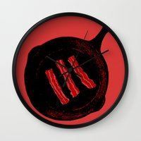 bacon Wall Clocks featuring Bacon by ekirkdesign