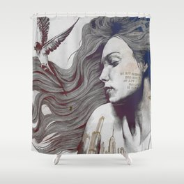 Monument: Red & Blue (sleeping beauty, woman with skyline tattoo and bird) Shower Curtain