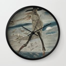 Satan Sowing Tares amid Seine & Paris - Satan sement l'ivraie by Félicien Rops Wall Clock