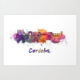 Cordoba skyline in watercolor Art Print