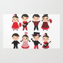 Spanish flamenco dancer. Kawaii cute face with pink cheeks and winking eyes. Gipsy Rug