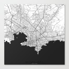 Montevideo Map Gray Canvas Print