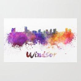 Windsor skyline in watercolor Rug