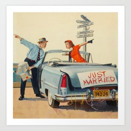 Just Married Retro Couple Art Print