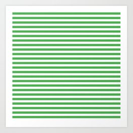 Even Horizontal Stripes, Green and White, S Art Print