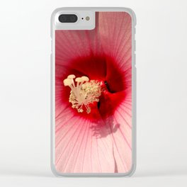 Pink Hibiscus Close-up Flower Photography Clear iPhone Case