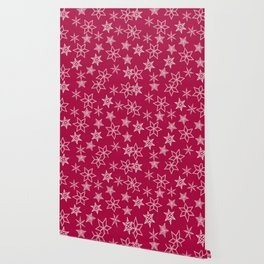 Snowflakes on red background Wallpaper
