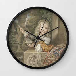Boy blowing bubbles, Abraham Delfos, after Caspar Netscher, 1741 - 1820 Wall Clock