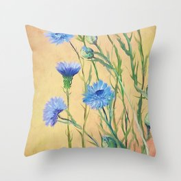 Bachelor Buttons, Flower Painting, by Faye Throw Pillow