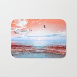 The Orange Sunrise in Sea Side Badematte