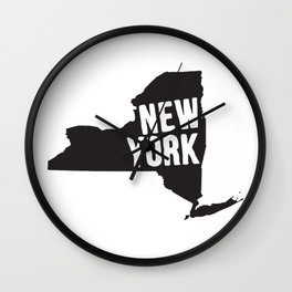 New York Typography Map Wall Clock