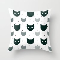because cats Throw Pillows featuring Cats Cats Cats by Be Kindly