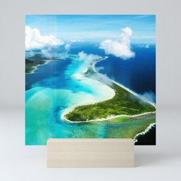 "French Polynesia's Secluded ""Secret Island"": Aerial View Mini Art Print"