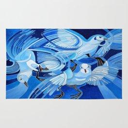 Muge's Pigeons in Blue  Rug