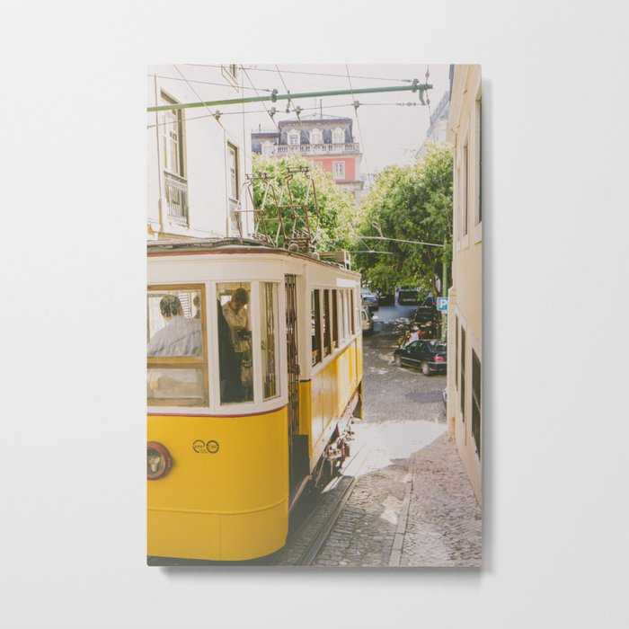 Yellow Cable Car Metal Print