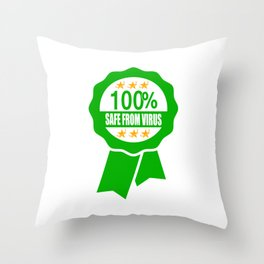 100% Safe From Virus Label Throw Pillow