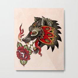 Mystical Wolf Tattoo Metal Print