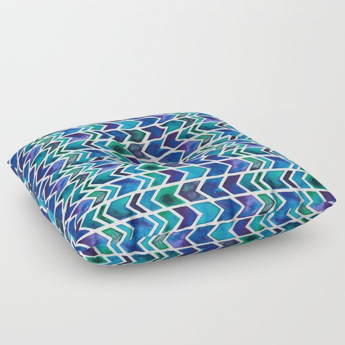 Turquoise and Green Aztec Pattern. Floor Pillow