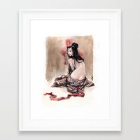 geisha Framed Art Prints featuring Geisha by carlations: Carla Wyzgala illustrations