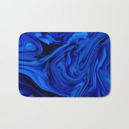 Blue Liquid Marbled texture Bath Mat