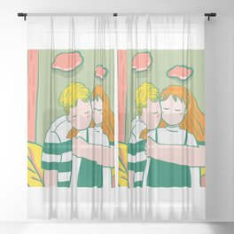 Sweet Couple Illustration Sheer Curtain