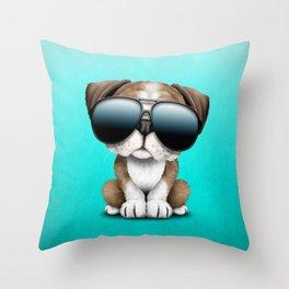 Cute British Bulldog Puppy Wearing Sunglasses Throw Pillow