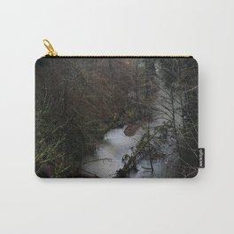 Oregon River. Dark Forest. Mist. Pacific Northwest. PNW. Rain. Carry-All Pouch