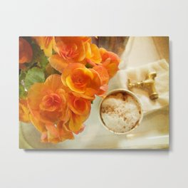 Coffee & flowers Metal Print