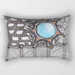 Turquoise Jeweled Tangle Art Rectangular Pillow