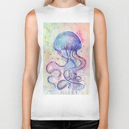 Jellyfish Watercolor Biker Tank