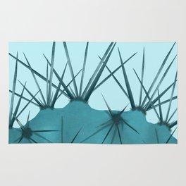 Teal Cactus Close-up Design Rug