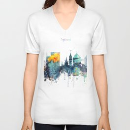 Oakland California Blue  skyline print Unisex V-Neck