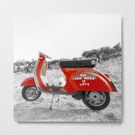 Black & White Love Mod Scooter Metal Print
