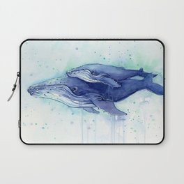 Humpback Whale Watercolor Mom and Baby Painting Whales Sea Creatures Laptop Sleeve