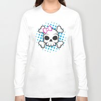 girly Long Sleeve T-shirts featuring Girly Skull by ZombieGirl