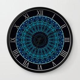 Mandala in light and dark blue tones Wall Clock