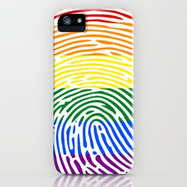 lgbt rights rainbow finger print iPhone Case