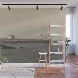 Hazy Straitsmouth lighthouse Wall Mural