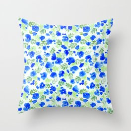 Floret (Blue) Throw Pillow