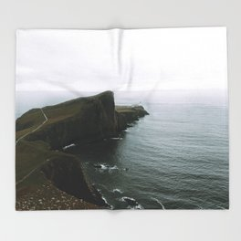 Neist Point Lighthouse II - Landscape Photography Throw Blanket