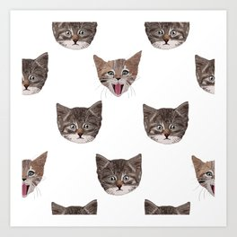 Cute Cat Head Pattern Art Print