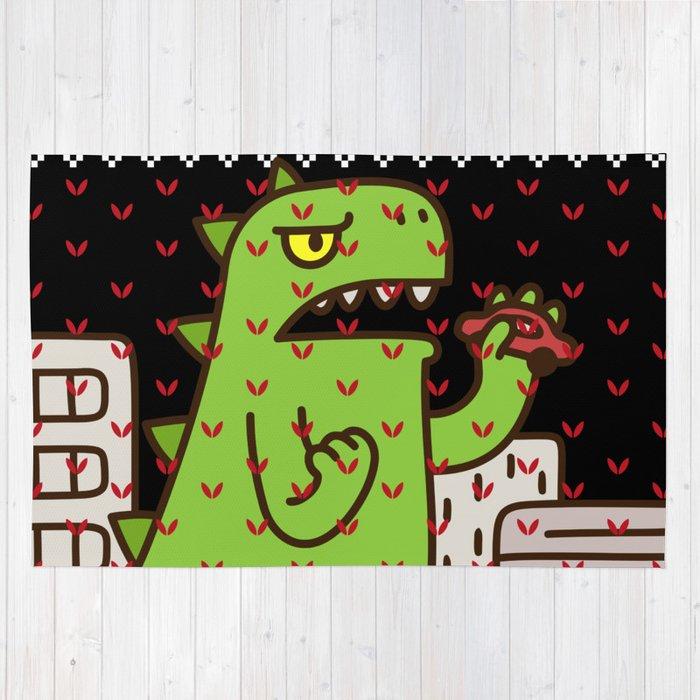godzilla ugly christmas rug by mrsmitful society6 - Christmas Rugs Large