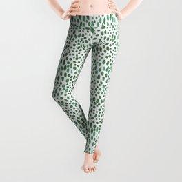 Green Watercolour Spots Leggings