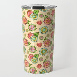 Colorful doodle flowers - Spring Pattern Travel Mug