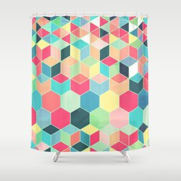 Yummy Summer Colour Honeycomb Pattern Shower Curtain