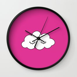 Dreaming cloud in pink background Wall Clock