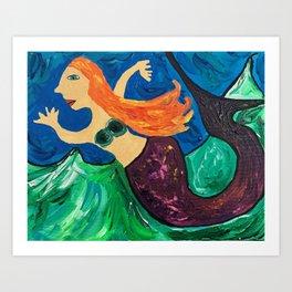 She Glides Through Churning Waters Art Print