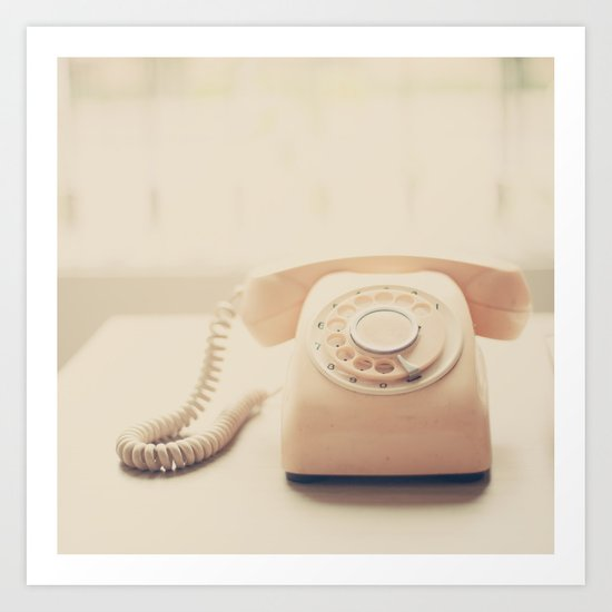 Call me, Pink Retro Telephone Art Print
