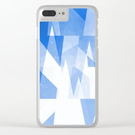 Abstract Blue Geometric Mountains Design Clear iPhone Case